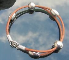 Tan Leather Cord Bracelet with Large Beads 925 Sterling Silver Ends and Clasp