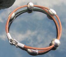 Bronceado el cordón de cuero Pulsera Con Grandes Perlas Plata Esterlina 925 Extremos Y Broche