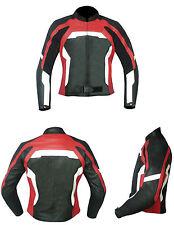 NUOVO Giacca Moto Donna Vera Pelle 3158 Nero-Rosso-Bianco