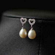 Boucles d'Oreilles Clous Perle de Culture Blanche Argent Massive 925 Coeur