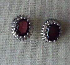 925 Sterling Silver Garnet Oval Post Earrings