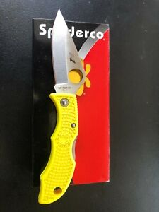 New SPYDERCO LADYBUG 3 SALT Plain Blade Keychain Folding Knife Yellow  LYLP3