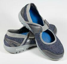 Propet Leona Mary Jane Women's Sz 6.5W Silver/Blue Walking Shoes W3264