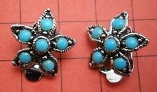 G876* Vintage silver tone blue faux turquoise glass flower clip on earrings