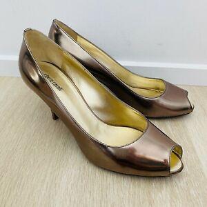Roberto Cavalli Women's Metallic Low Heels Size 40.5 Pumps Genuine Leather