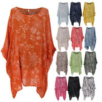 Italian Ladies Floral Batwing Sleeve Top Women Lagenlook Tunic Cotton Shirt Plus