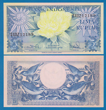 Indonesia 5 Rupiah P 65 1959 UNC Low Shipping! Combine FREE!