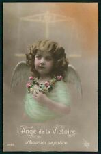 Pretty Edwardian Child Girl Angel Justice scale original old 1910 photo postcard
