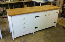 Rustic Pine Freestanding Shabby Chic Kitchen Unit Cupboard + Drawers Oak Top