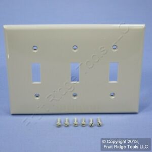 Leviton Unbreakable Gray 3G Toggle Switch Cover Wall Plate Switchplate 80711-GY
