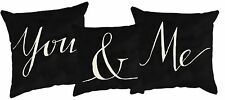 YOU & ME Black & White Wedding Decorative Pillows, Set of 3, Primitives by Kathy