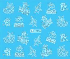 Nail Art Stickers Water Decals Transfers White Mono Design (B009)