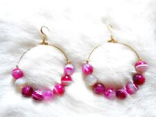 Kenneth Jay Lane Large Gold Cherry Agate Bead Hoop Pierced Earrings
