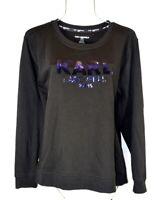 NEW Karl Lagerfeld Paris Women's French Black Sequin Sweatshirt Top L