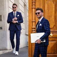Blue Windowpane Men's Suits  Formal Groomsmen Slim Fit Tuxedos Best Man Tailored