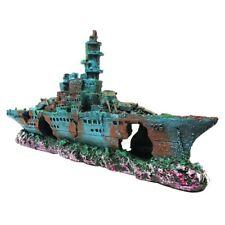 Large Aquarium Ornament Wreck Sunk Ship Plastic Boat Air Split Shipwreck Fish US