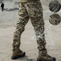 Mens Tactical Military Pants Combat Cargo BDU Casual Waterproof Black Camouflage