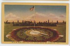 Floral Clock, Conestoga Memorial Park LANCASTER PA Vintage Pennsylvania Postcard
