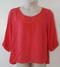 Simply Irresistible Coral Pink Embroidered 3/4 Sleeve Top Blouse Plus Size 2X