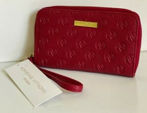 NEW! ADRIENNE VITTADINI RED DEBOSS ZIP AROUND WALLET WRISTLET W/ PHONE POCKET