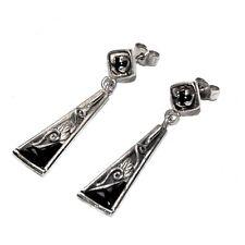 Boucles d'oreilles vintages argent massif 925 onyx noir bijou earring