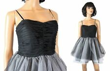 Steppin Out Prom Dress Jrs 9/10 Black White Tiered Tulle Sleeveless Strapless