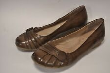"""WOMEN'S FLAT SLIP ON SHOE BY WHITE MOUNTAIN.""""CLIFFS""""  US SIZE 8.5M BROWN LEATHER"""
