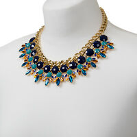 Statement Gold Necklace Geometric Crystal Chunky Chain Colourful Choker Bib Boho