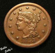 1853 Braided Hair Large Cent <> N-22 R2+ Rpd <> Xf Details