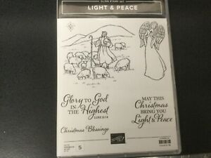 Stampin Up Cling Rubber Stamp Set LIGHT & PEACE, Christmas Theme