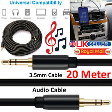 20M Jack To Jack Aux Cable 3.5mm STEREO Audio Auxiliary Lead Car Mobile Phone PC