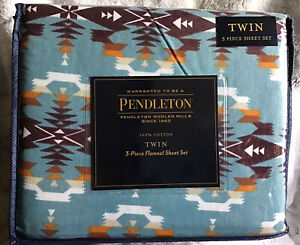 Pendleton Twin Flannel Sheet Set 3 Piece Cotton Washable Avra Valley Teal