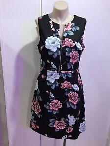 PORTMANS BNWT 'Bright Blooms' Black Floral Sleeveless A-Line Dress Size 10