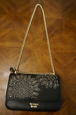 VICTORIA'S SECRET LASER CUT BOND STREET BLACK SHOULDER BAG WITH GOLD CHAIN NWOT