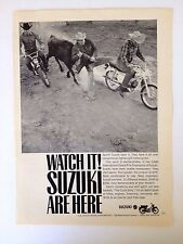 1965 Suzuki Motorcycle Vintage Original Print Ad Watch It