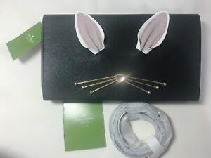 NWT Kate Spade Rabbit Bunny Cali Hop to it Black Leather Crossbody WKRU4755