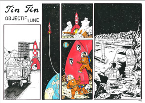 The Adventures of Tintin,Objectif Lune,Herge Style:A3 format, indian ink/markers