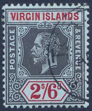 VIRGIN ISLANDS 1913-19 KGV 2/6D BLACK & RED/BLUE VERY FINE CDS USED. SG 76.