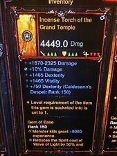 DIABLO 3 PRIMAL ANCIENT GENUINE INCENSE TORCH OF THE GRAND TEMPLE 2.6.1 SC MODE