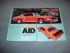 "1971 Pontiac GT-37 Tempest Vintage Street Machine Article ""Orange Aid"" Le Mans"