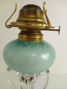 Antique Peg Oil Lamp Mt Washington Blue Diamond Quilted Satin Glass