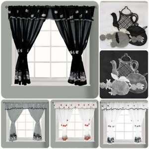 New Kitchen Window Curtain Set Rod Pocket Embroidered Attached Valance Tiebacks