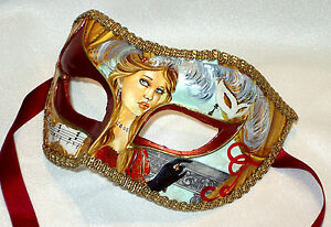 Hand painted Vintage Masquerade Mask - Italian Made, Paper Mache, Venetian Mask