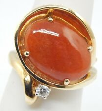 ESTATE 14K YELLOW GOLD 12x11MM ORANGE JADE 10PT DIAMOND RING 8.1 GRAMS SIZE 5.5