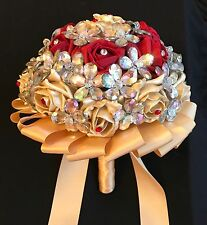 New Red/Gold Roses Brides Flower Brooches Brides Wedding Bouquet, Asian Weddings