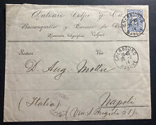 1914 Barranquilla Colombia Commercial Cover To Napoli Italy Via Cherbourg
