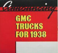1938 GMC Trucks Light Duty Pickup Panel Stake Sales Brochure MAILER Original
