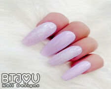 Set of 20 Press On Nails Lilac Purple Unicorn Glitter Fake False Christmas