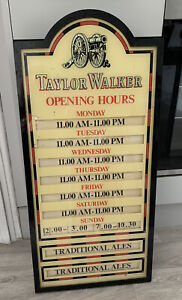 Vintage Taylor Walker Traditional Ales Opening Hours Sign / Board Breweriana....