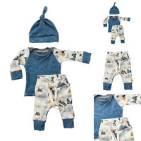 Newborn Baby Fashion Boy Girl Tops + Pants+ Hat Set Cotton  Long Sleeve Clothes